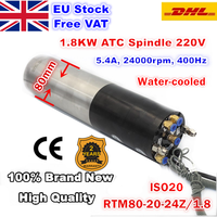 [EU Stock&Free TAX] 1.8KW 220V ATC Spindle Motor ISO20 24Z Permanent POWER Water Cooled Spindle For CNC Router Machine