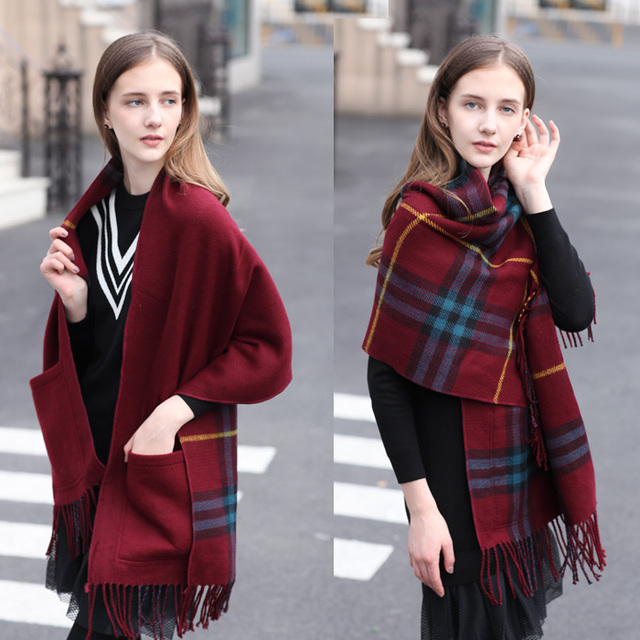 Cashmere scarf shawl fringed pocket Plaid female double thick cloak coat autumn and winter 190cm*56cm