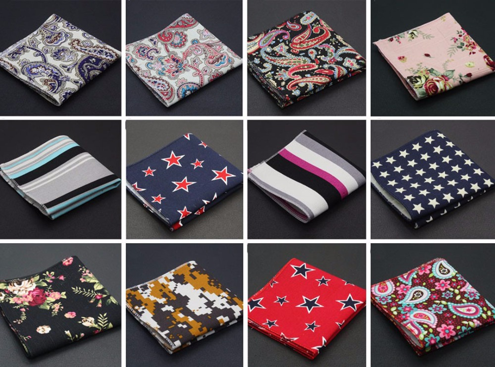 Men Linen Cotton Pocket Square Handkerchief Hanky Stripe Floral Stars Paisley BWTQN0035