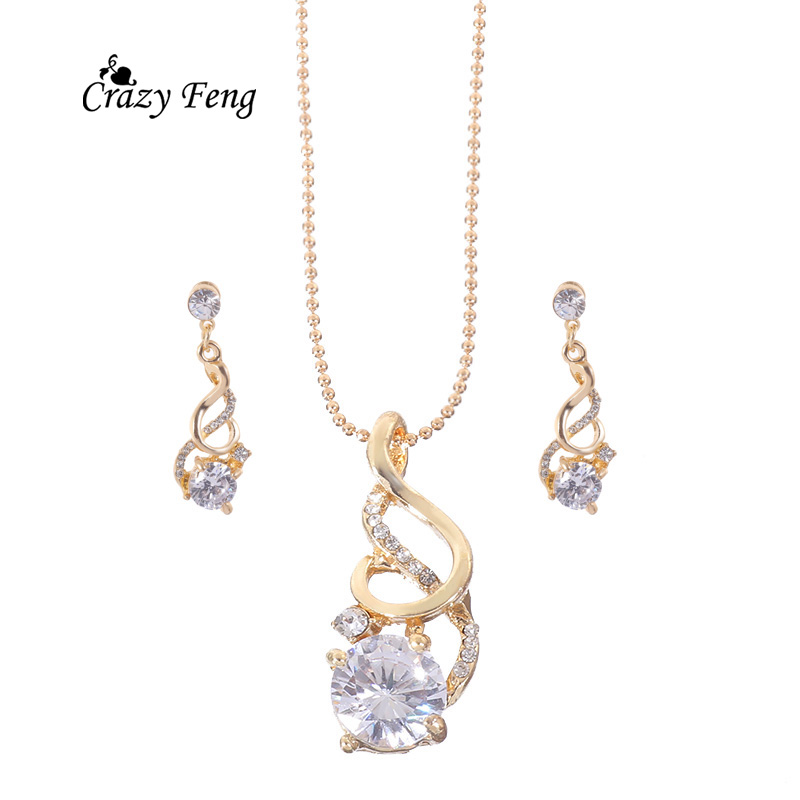 Super Deal New Style parure bijoux femme Cubic Ziron Crystal Wedding Costume Necklace Earrings Jewelry Sets For Women