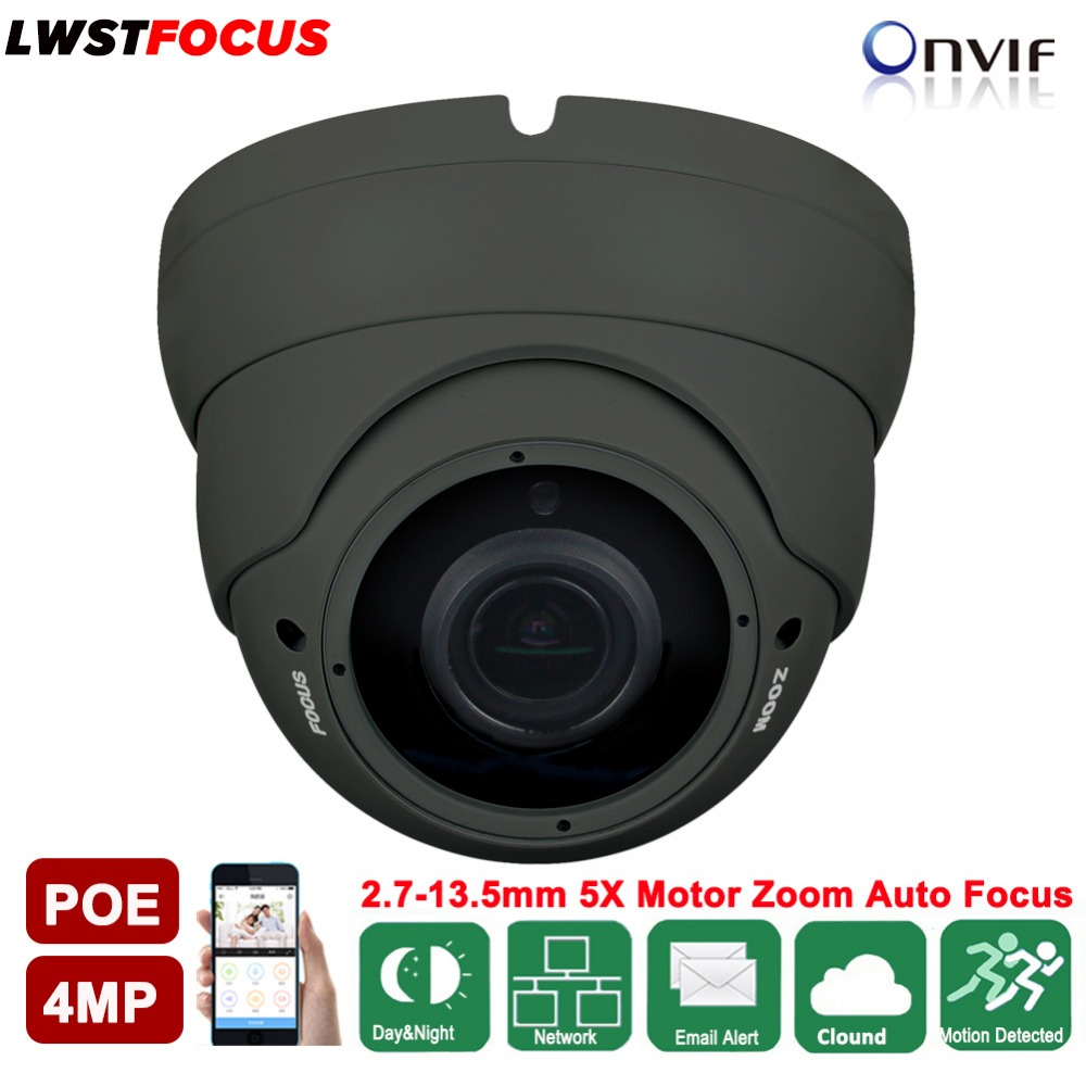 LWSTFOCUS H.265/H.264 4MP IP Camera 2.7mm-13.5mm Motorized Zoom Auto Focus 5MP lens IR 30M POE Network Camera Dome CCTV Cameras h 265 h 264 960p 1080p 4mp 2592 1520 motorized 2 8 12mm lens bullet network ip camera poe ipcam ip67 waterproof camara cctv