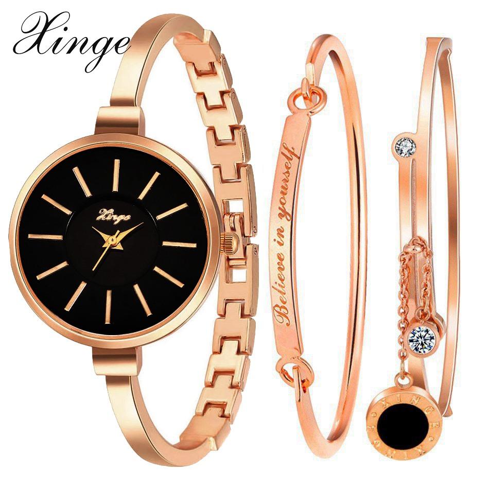Prix pour Xinge marque de luxe célèbre femmes bracelet montre bijoux ensemble montre-bracelet femmes cristal précieuses pierre quartz montres