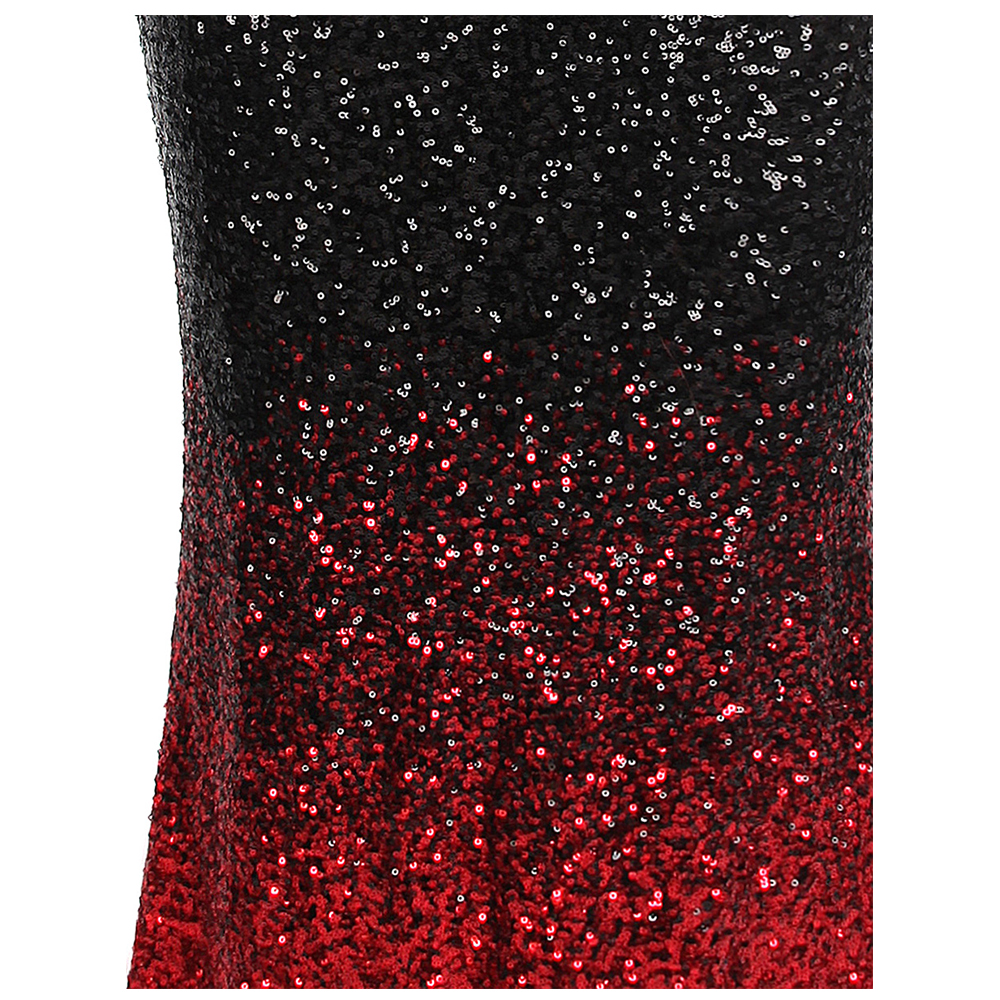 Angel-fashions Women's Gradient Evening Dresses Sequin V Neck Mermaid Contrast Color Party Gown Black Red 382