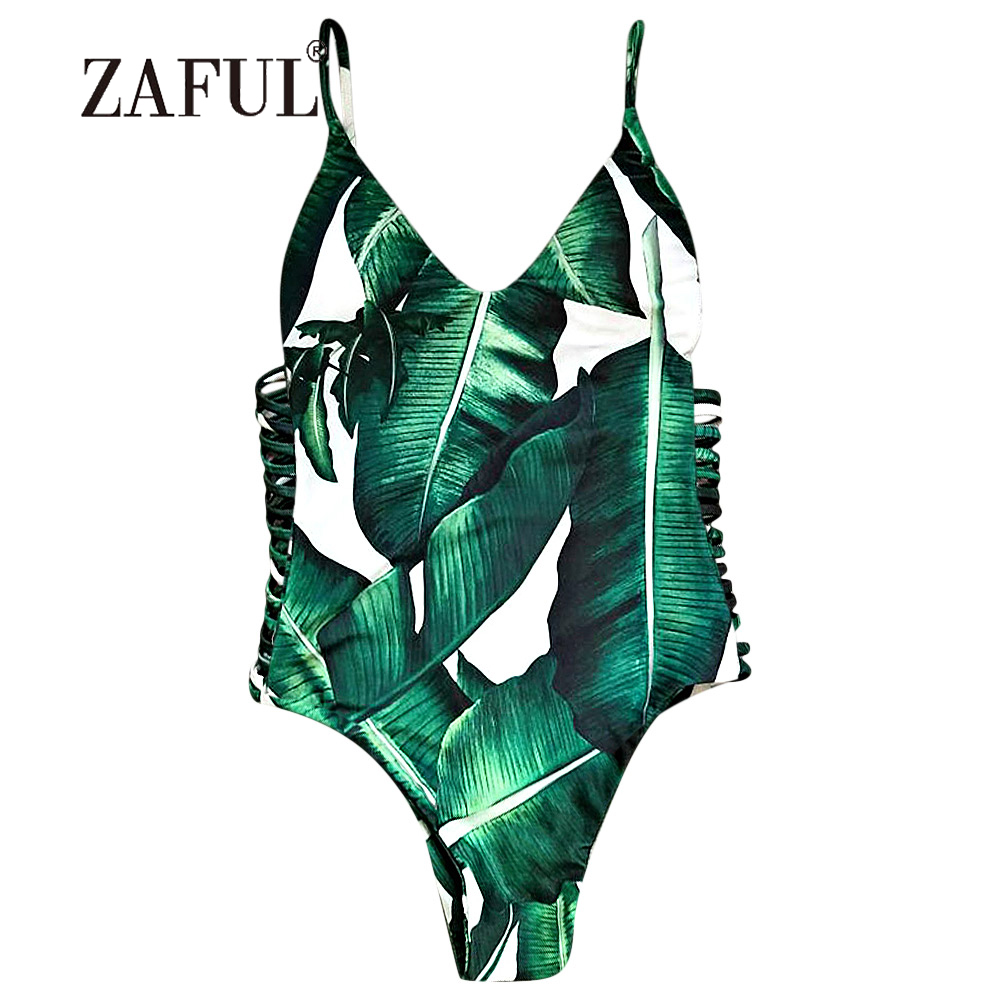 ZAFUL Women Swimsuit Cami Palm Tree Cut Out One-Piece Swimwear Sexy Hollow Out Side Bandage Swimming Suit Tropical Beachwear hollow out swimsuit