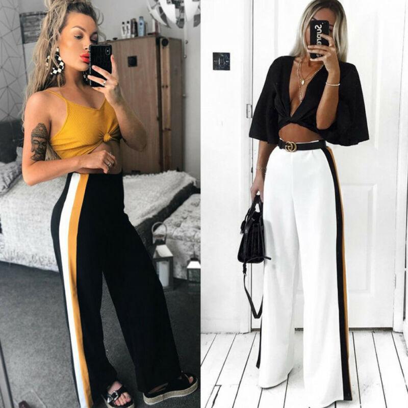 Fashion Summer Women Sports Solid White Black Casual High Waist Striped Wide Leg Long Pants Trousers