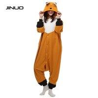 JINUO Orange Soft Fox Onesie Fleece Pyjamas Soft Cartoon Costume Onesies Pajamas Womens Pijamas Disfraz Animal