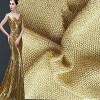 PanlongHome 2 Meters/lot Metallic Fabric Jacquard Fabric Metallic Knitted Fabrics Gold Silk Yarn Clothing Bags Cloth