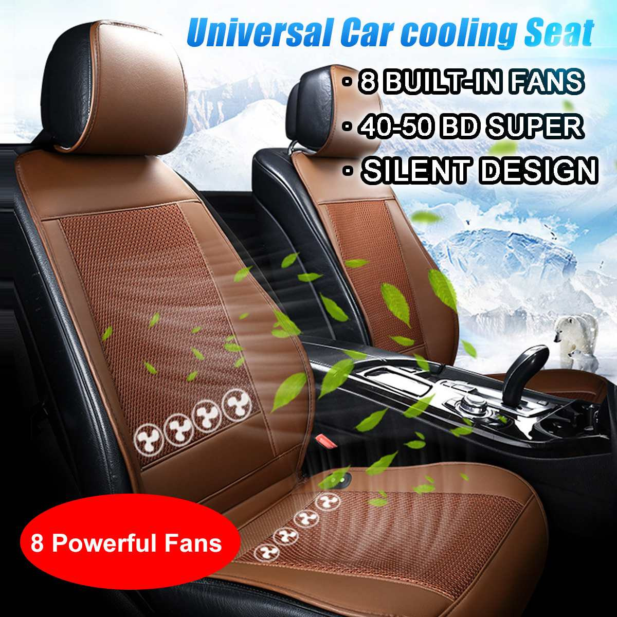12V Cooling Car Seat Cushion Cover Air Ventilated Fan Conditioned Cooler Pad 8 Built-in Fan 3 Speeds Seat Cushion Covers