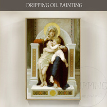 New Classical Oil Painting Hand-painted The Virgin Jesus and Saint John Baptist Religious Portrait