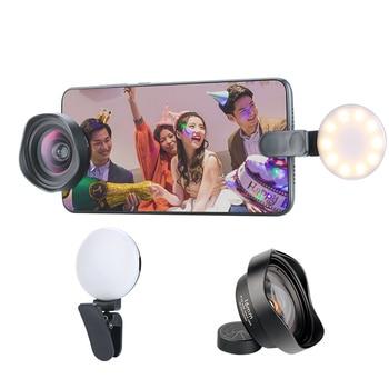 Ulanzi 16 MM gran angular con anillo de luz lente móvil 42 MM CPL 2X telefoto de ojo de pez lentes de teléfono para iPhone huawei Piexl 2 3