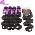 Eurasian Body Wave 3pcs Human Hair Weave Bundles With 1pcs Lace Top Closure 8a unprocessed Virgin Hair Body Wave