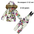 New Winter baby girl Suit Kids Ski Suit Winter girl Snowsuit Children Clothing Set long sleeve Down Jacket+Jumpsuit clothing R04