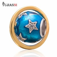 Blue Sky 925 Sterling Silver Enamel Bead Charms For Woman Bracelets Necklace DIY Jewelry Making