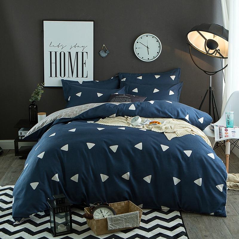 Blue Plaid Comforter Bedding Sets Painting Duvet Cover Set Queen Twin Size Bed Linen Cotton