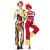 O Traje Adulto Palhaço 80 s Retro Hippies Estilo Calças Perna Larga Roupa Traje Circo Feliz Casal do Dia Das Bruxas do Vestido Extravagante trajes