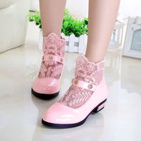 Lace Cut Out Spring Princess Baby Shoes Korean Kids Ankle Boots Children Girls Leather Party Shoes
