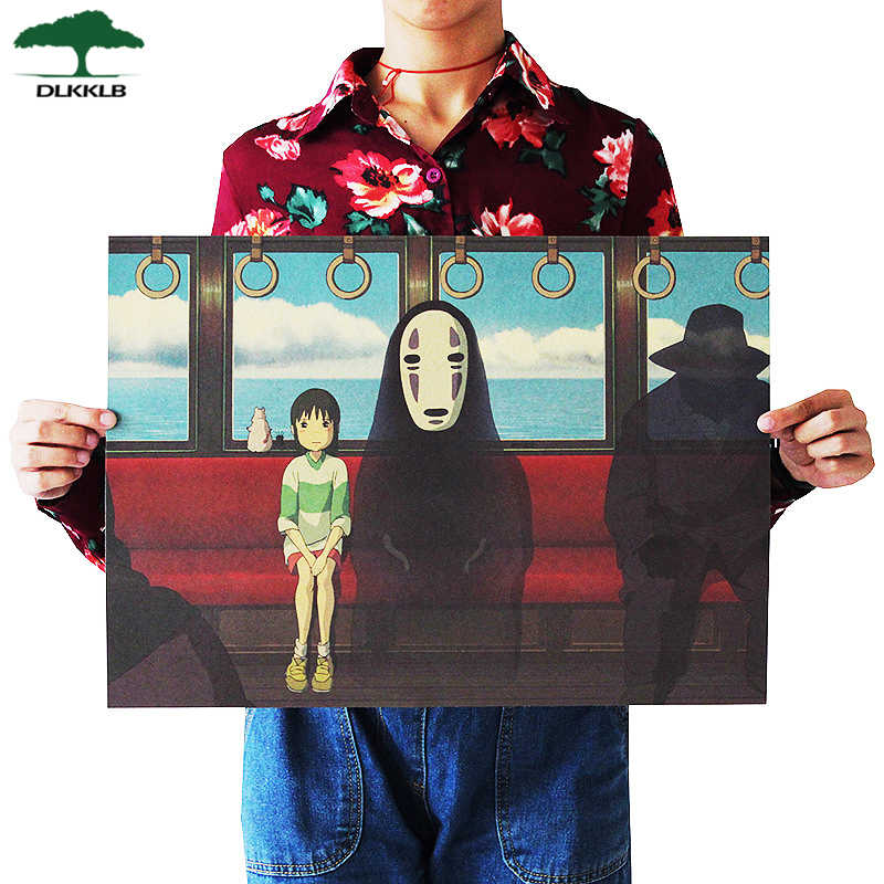 Dlkklb Famous Hayao Miyazaki Anime Movie Spirited Away Poster Kraft Paper Bar Home Decor Poster Decorative Painting Wall Sticker