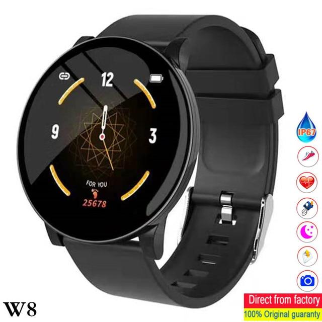 Reloj inteligente W8 con pantalla de latido del corazón, pronóstico del tiempo, reloj inteligente de Fitness, recordatorio, pulsera inteligente bluetooth a prueba de agua pk Q8 Q9