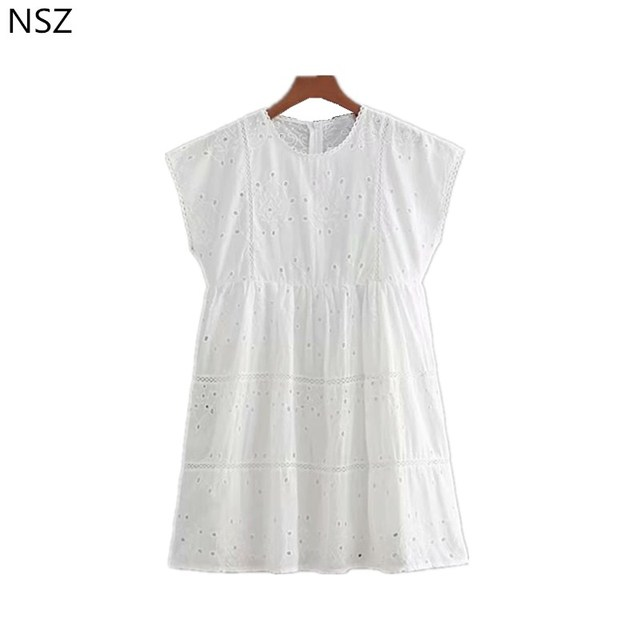 fcfb21252e NSZ Kobiety Biały Bawełniana Sukienka Letnia Sukienka Krótki Rękaw Haft  Plisowane Mini Suknia