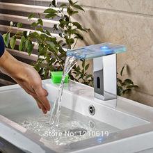 Newly LED Color Changing Bathroom Automatic Sensor Basin Faucet Chrome Finish Basin Faucet Glass Spout Single Hole