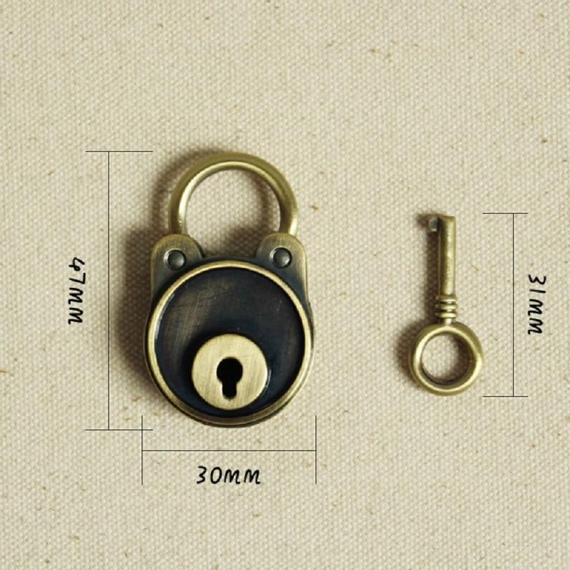 Dagbok Notebook Lock Bagagebältnyckel Lås Antik bronsfärg - Möbel - Foto 4
