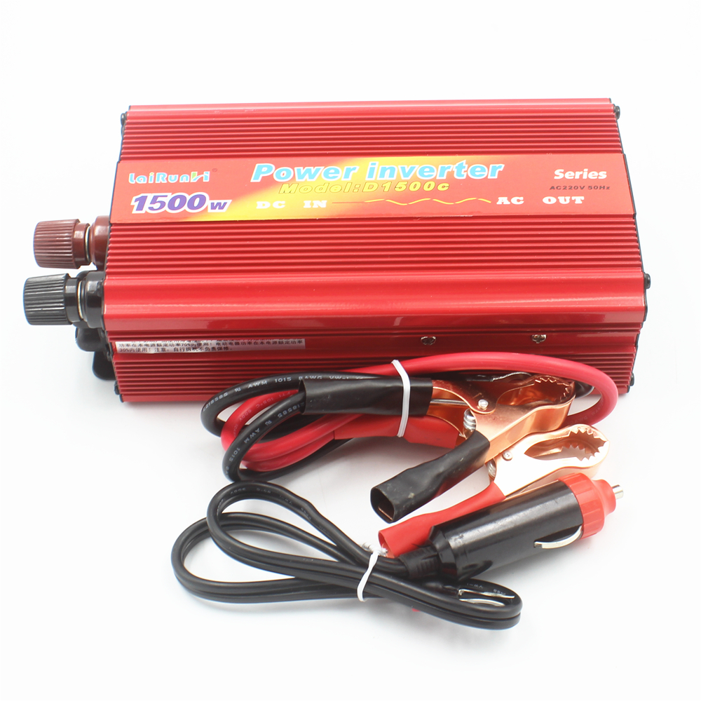Car Inverter 1500W DC 12V/24V to AC 220V Vehicle Power Supply Switch On-board Car Inverter Charger USB Free Shipping