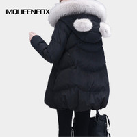 Winter Women S Jacket 2018 New A Word Doll Cotton Jacket Fox Fur Collar Hooded Parkas