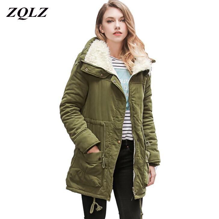 ZQLZ Winter Jacket Women 2017 New Thick Cotton Liner Slim Plus Size Femme Coat Fashion Wadded Warm Waist Belt Ladies   Parka