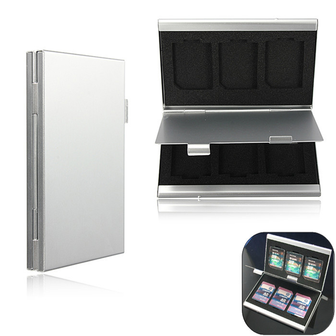 NOYOKERE Est 6 Slots Top Quality Dougle-desk Aluminum Storage Box For SD SDHC SDXC MMC Memory Card Case Holder Protector