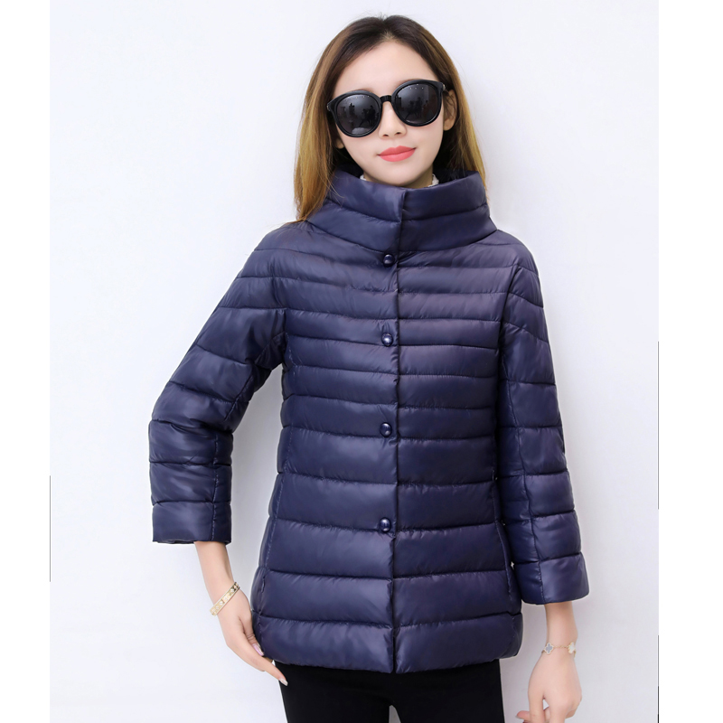 ALMUERK 2018 Autumn Winter Short Style Women Jacket Light Coat Pocket Stand Collar   Parka   Cotton Casual Outfit