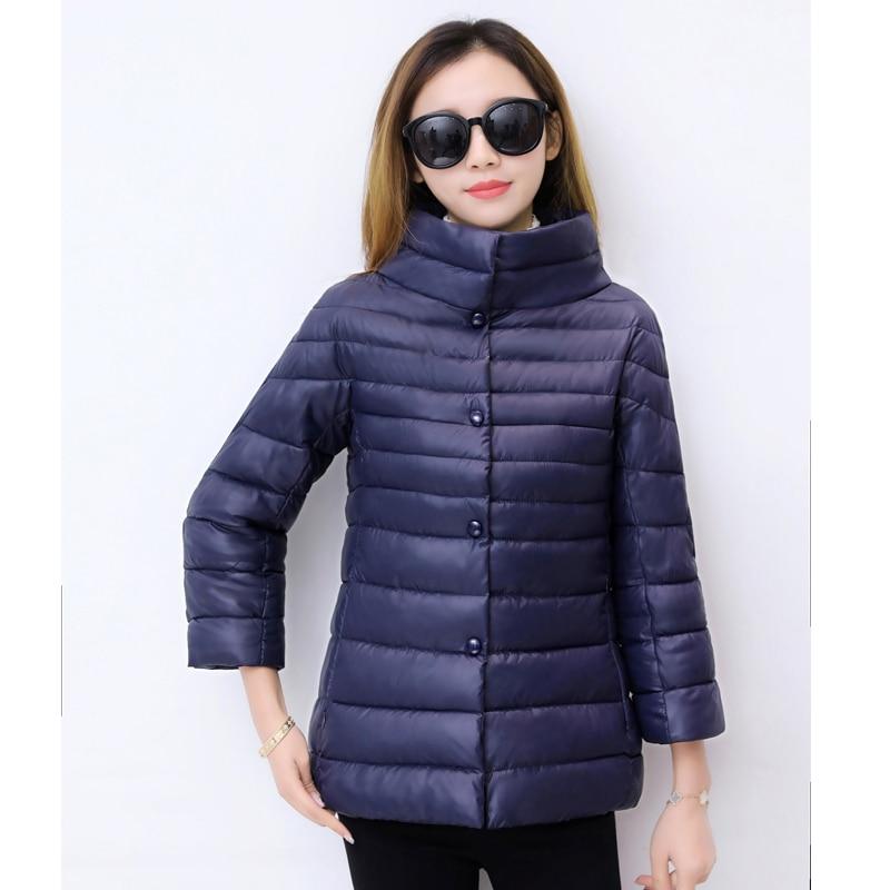 ALMUERK 2018 Autumn Winter Short Style Women Jacket Light Coat Pocket Stand Collar   Parka   Cotton Casual Outfit