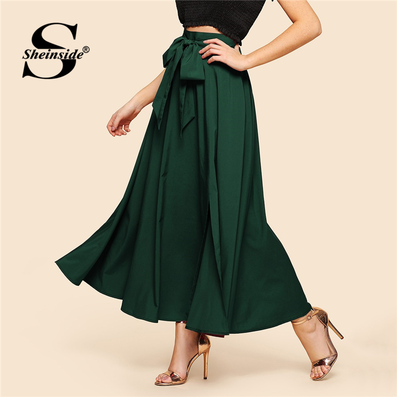 Sheinside Green Knot Front Zip Back Women Flare Maxi Skirt Ladies OL Work Elegant High Waist Skirts Womens A Line Pleated Skirt