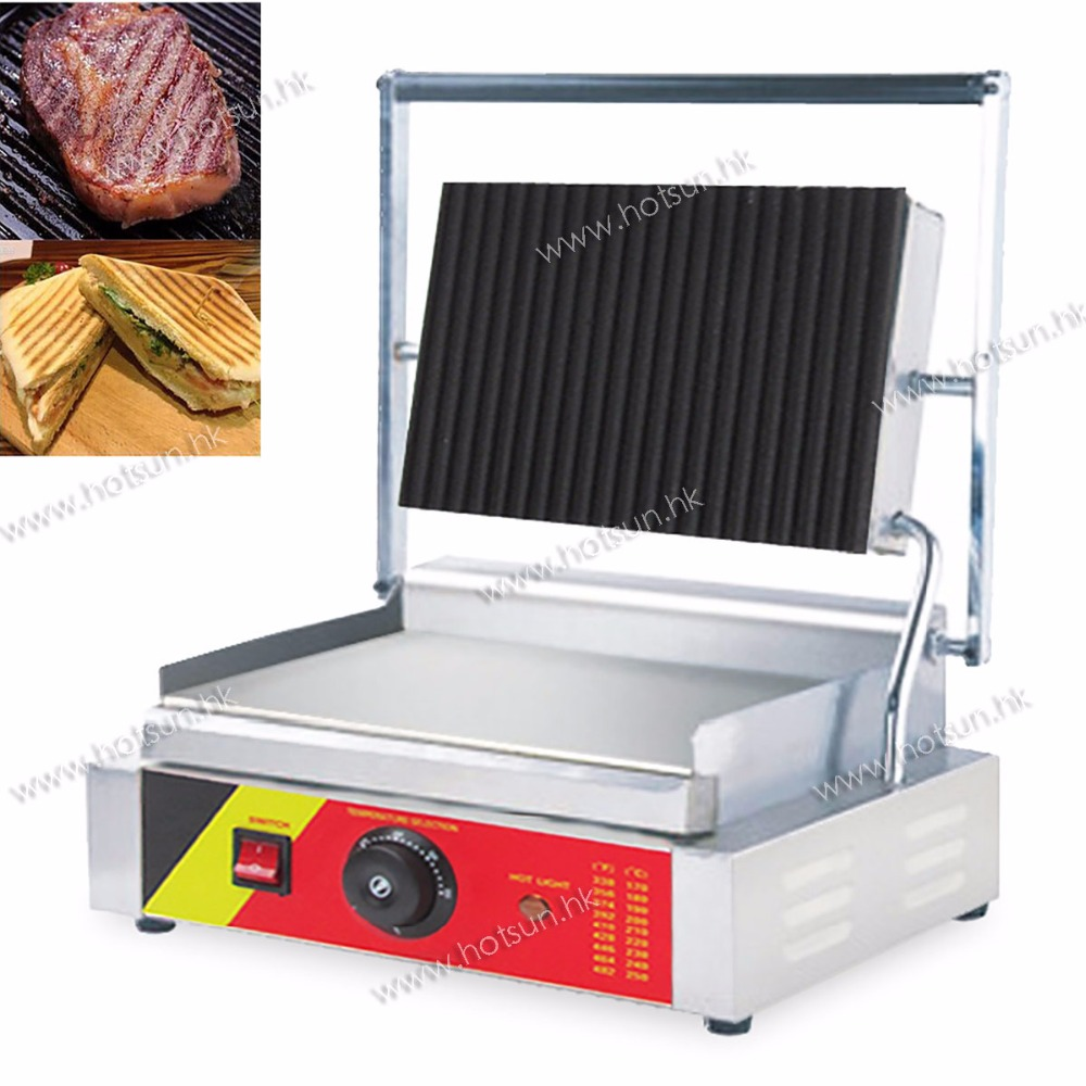 Professional 110V 220V Electric Non-stick Heavy Duty Sandwich Press Steak Grill Panini Grill Press Maker Machine commercial heavy duty non stick 220v electric ribbed