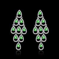 JM Christmas Trees Big Earrings For Women Wedding Jewelry With Green AAA CZ Austria Crystal 4