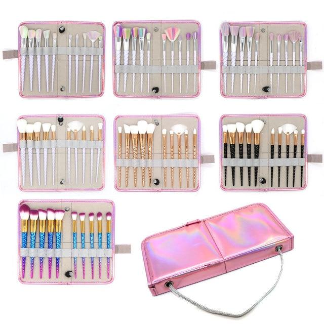 10Pcs/Bag Professional Makeup Brush Set Case Makeup Tools Bag Thread Powder Foundation Blush Brusher Eyebrow Make Up Brush Kit