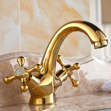 Free shipping dual handle golden bathroom basin faucet with solid brass bathroom basin sink water mixer tap