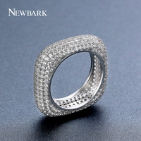 NEWBARK Hot Sale Square Promise Rings Silver Color Vintage Fascination Clear CZ Big Ring For Women