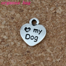 300pcs Mini 9.5x12mm Heart My Dog with Puppy Paw Print DIY Charm Pendant for Crafting, Jewelry Making Accessory A-212