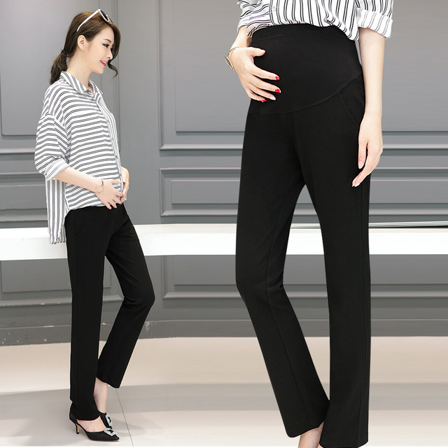 3510 Ol Maternity Pants Office Laides Formal Work Black Trousers Elastic Waist Straight Pregnancy