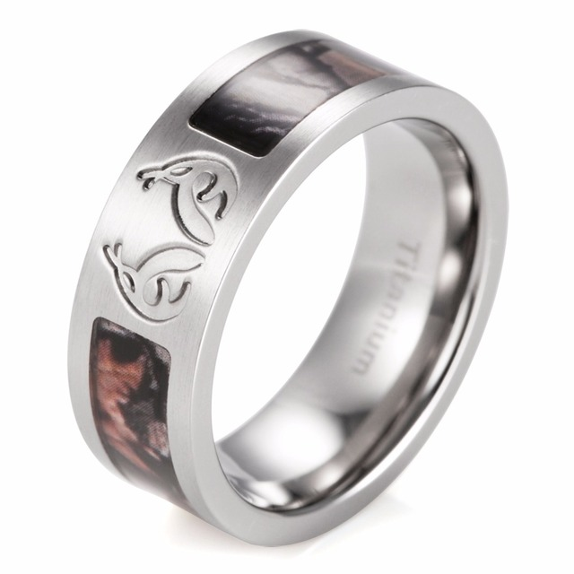 SHARDON Men's Real tree Carved Antler Camo Wedding Ring Titanium Brown Camouflage Outdoor Hunting Ring For Men