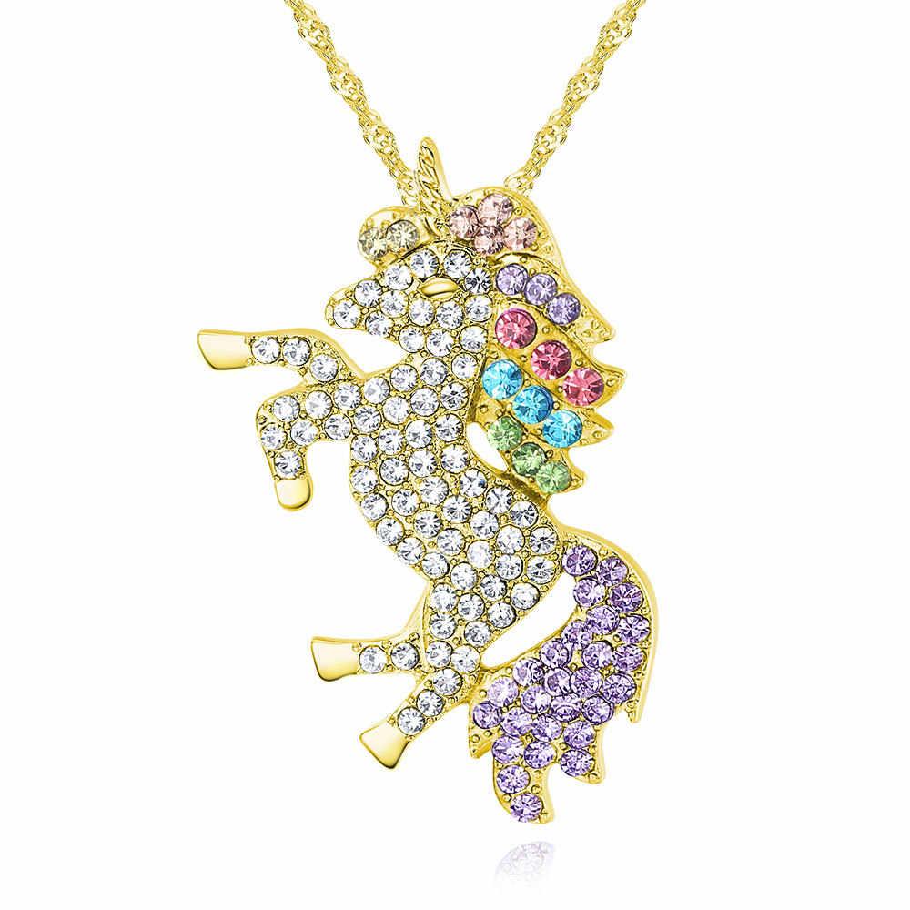 LF トレンディギフト高品質動物ユニコーンラインストーンネックレス女の子虹のネックレス & ペンダント女性のアクセサリー