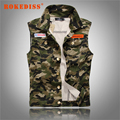 2017 Verão Coreano Moda Camo Denim Vest Slim Fit Estilo da Camuflagem Militar Casuais Calças Jeans Colete Para Homens Vetement homme G262