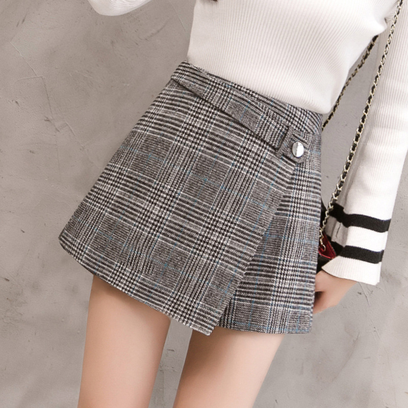 2018 Spring Winter Plaid Wool   Shorts   Women   Short   Pant Clothing Korean Woolen   Shorts   Casual Office Ladies Bottoming Femme