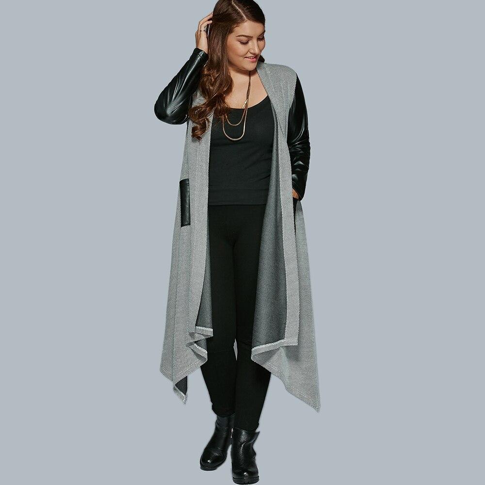 Wipalo Casual Autumn Plus Size PU   Leather   Trim Longline Asymmetrical Jacket Coat Women Faux Cheap Bomber Jacket Femininas 5XL