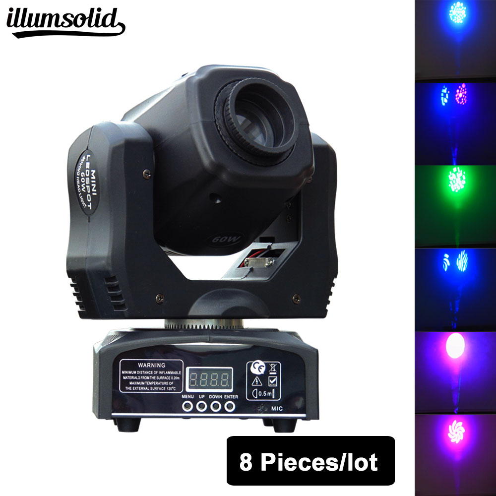 (8 pieces/lot) LED Mini moving head light 60w moving gobo dmx spot led effect dj KTV lighting led mini moving head light 60w gobo dmx spot effect dj light fixtures