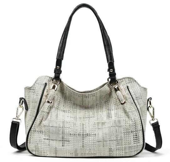 Brand New Fashion Soft Real Genuine Leather Plaid Designer Women\'S Handbag Lady Lattice Shoulder Tote Messenger Bag GL14