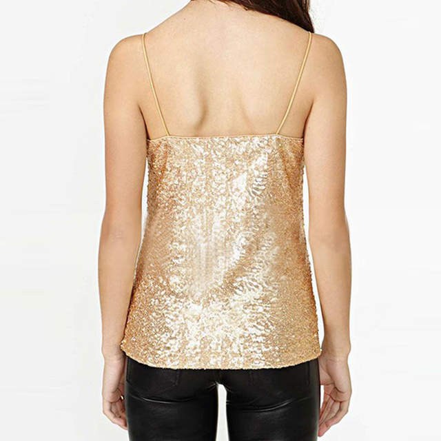 c1986e20c71f8 Online Shop City 2018 Women Crop Tops European New Fashion Sexy Sequins  Camis Sweet Sexy Gold Sequins spaghetti straps Vest Female CT-749
