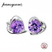 PANSYSEN Romantic Heart Amethyst Gemstone Genuine 925 Sterling Silver Wedding Stud Earrings for Women Luxury Fine Jewelry Gifts