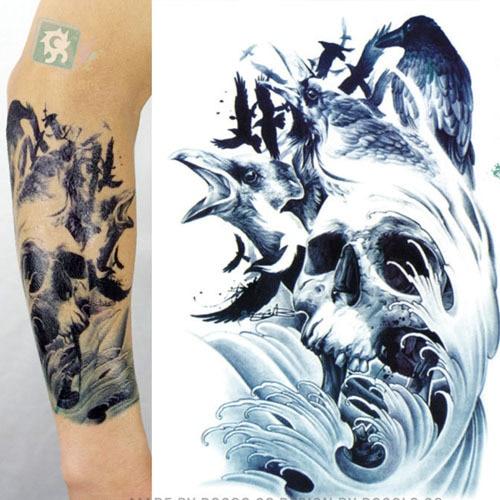 29 amazing henna tattoo tribal designs skull for Temporary arm tattoos