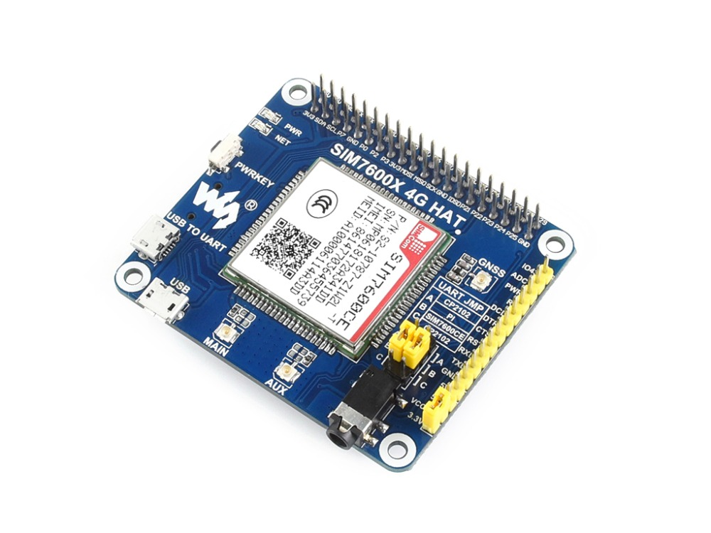 Waveshare 4G/3G/2G/GSM/GPRS/GNSS HAT For RPi Zero/Zero W/Zero WH/2B/3B/3B+,Based On SIM7600CE-T,Supports Dial-up,UDP, DTMF, HTTP